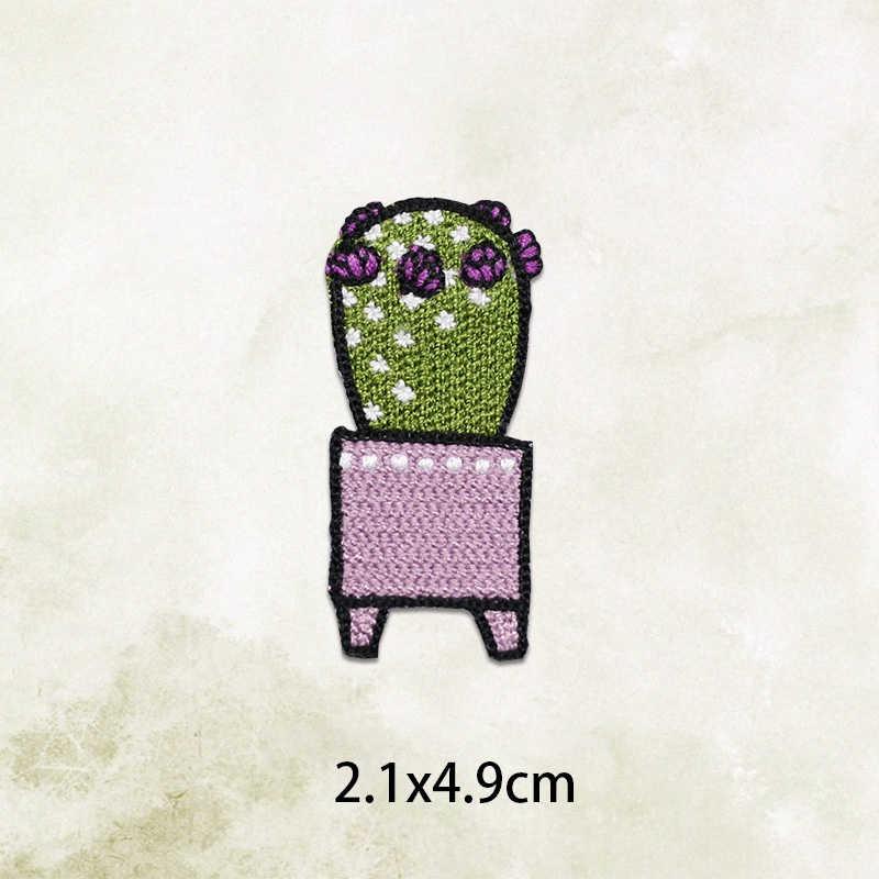 1 PCS Pianta di Cactus Gatto Parches Ricamato il Ferro sul Toppe e Stemmi per Abbigliamento FAI DA TE Stripes Vestiti alberi di Cocco Adesivi Personalizzati Distintivi e Simboli