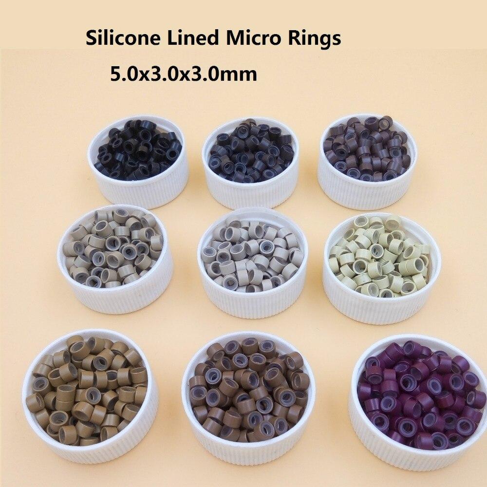 1000 teile/paket silikon ausgekleidet Mikro Links Ringe Perlen Haar-feder-verlängerungen