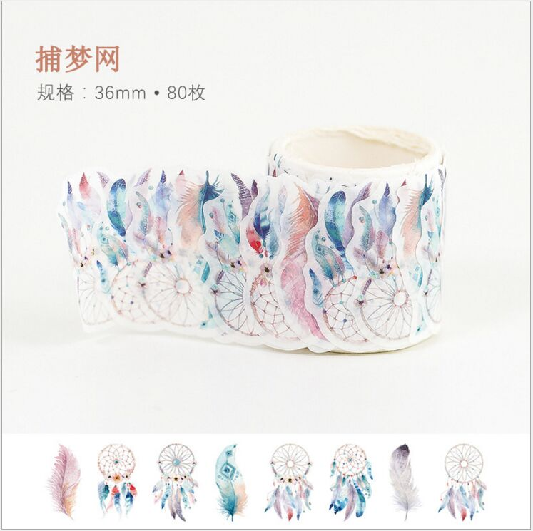 80pcs/roll Vintage Dreamcatcher feathers Decoration Washi Tape DIY Planner Diary Scrapbooking handcraft Masking Tape Escolar 15mm japanese style blue wave fan travel diary decoration washi tape diy planner diary scrapbooking masking tape escolar