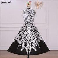 Сексуальная короткая Высокая шея черный и белый Пром Вечеринка платье для Выпускной Пром платья Vestido De Formatura