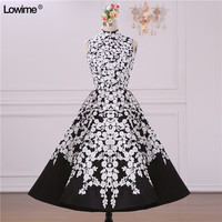 Sexy Short High Neck Black And White Prom Evening Party Dress For Graduation Prom Gowns Dresses Vestido De Formatura