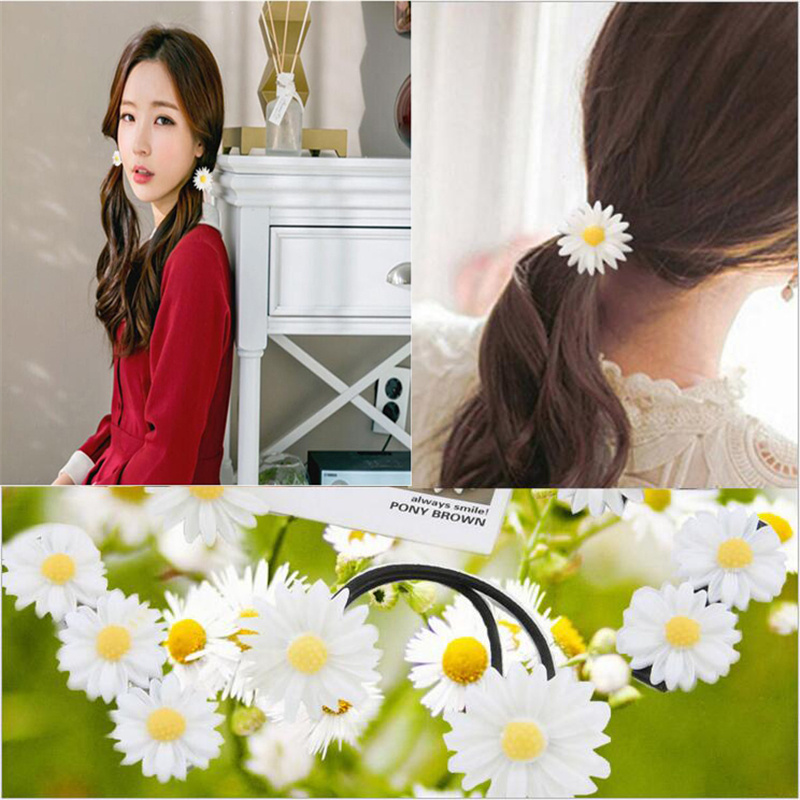Fashion Girl Hairpin Flower Daisy Elastic Hair Bands Women Hairband Children Ribbon Barrette Rope Hoop Jewelry Hair Accessories halloween party zombie skull skeleton hand bone claw hairpin punk hair clip for women girl hair accessories headwear 1 pcs