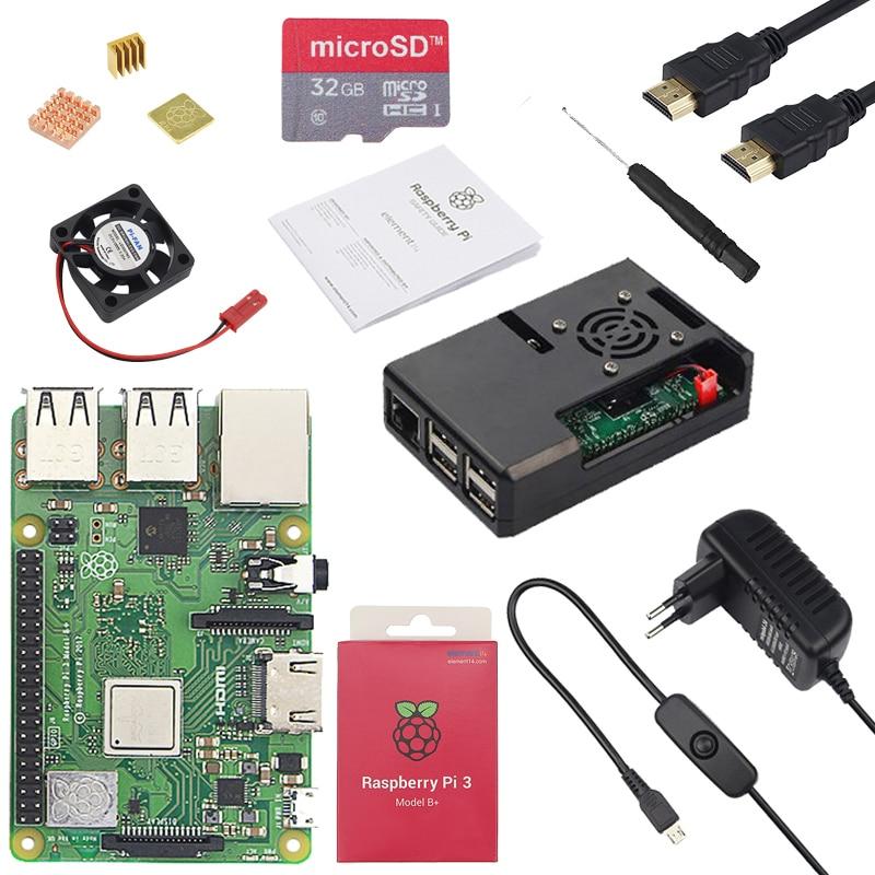 Оригинальный Raspberry Pi 3 Model B плюс + ABS чехол процессор вентилятор 3A мощность с включения/выключения теплоотвод для Raspberry Pi 3 Model B