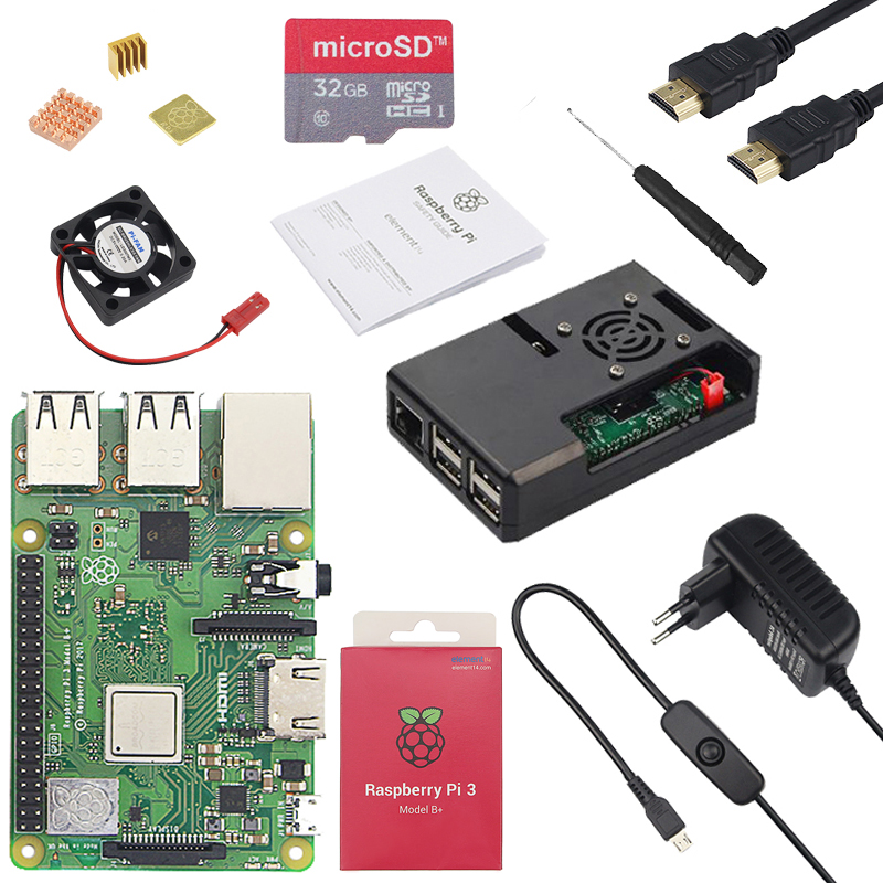 Authentic Raspberry Pi three Mannequin B Plus + Abs Case + Cpu Fan + 3A Energy With On/off Change + Warmth Sink For Raspberry Pi three Mannequin B+