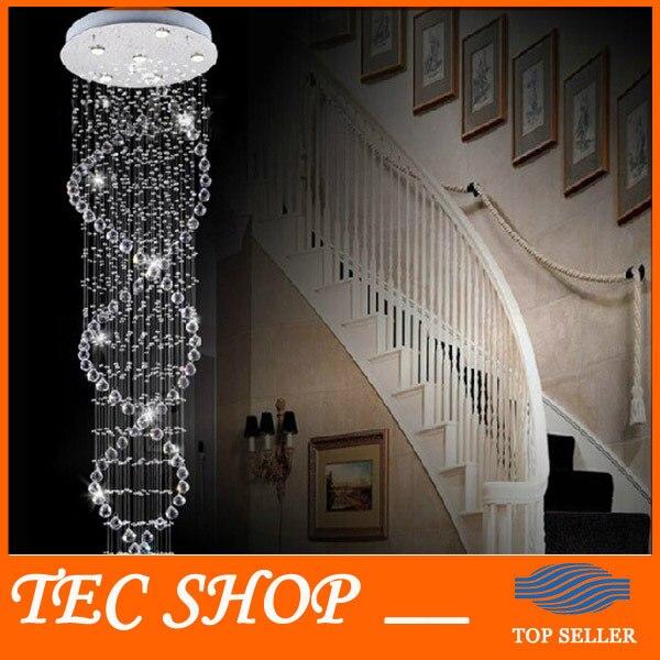 JH Лидер продаж современный двойная лестница огни сверхплотного k9 кристалл лампы двойная спираль Кристалл Потолочный светильник Гостиная л...