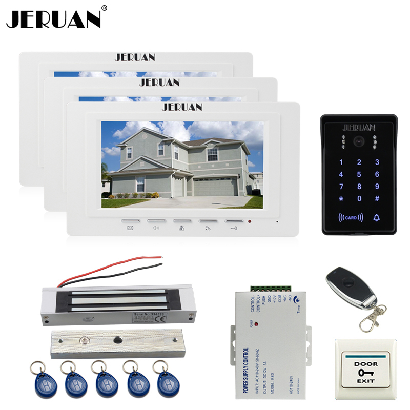 JERUAN new 7`` LCD Video Intercom Video Door Phone System 3 white monitor RFID Waterproof Touch key Camera+Remote control Unlock jeruan new 7 video intercom entry door phone system 1monitor 700tvl touch key waterproof rfid access camera remote control