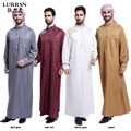 LURRSN Wholesale Arab Europe Long Sleeve Muslim Thobe Malaysia Mens iIslamic Thobe 2017 NEW Enlarg Size 3XL Robes Robed TH804