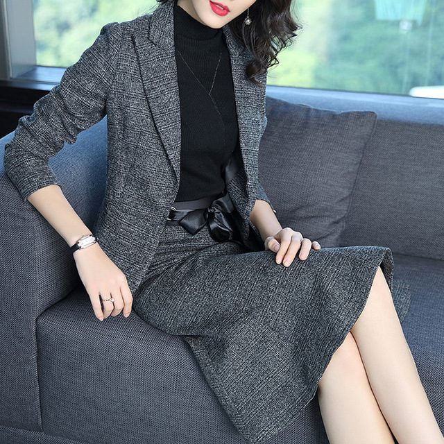 Women Gray Work Skirt Suit Ladies Designer Business Attire Office Outfit Two Piece Set Suit With Skirt Women Skirt and Jacket