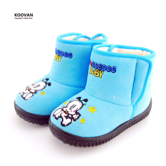 Koovan New Year Promotion 2017 Warm Children Ankle Boots Dog Cartoon Cotton Girls Snow Boot Boys Girls Kids Rubber Shoes KX5127