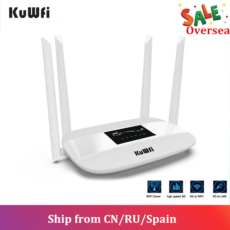 KuWFi 4G LTE Roteador Sem Fio Desbloqueado 300Mbps Roteador CPE Indoor Sem Fio 4Pcs Antenas Com Porta LAN & slot Para Cartão SIM até os usuários 32