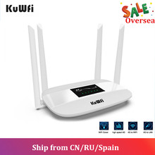 KuWFi разблокированный беспроводной маршрутизатор 4G LTE Внутренний беспроводной маршрутизатор CPE 300 Мбит / с 4 антенны с портом LAN и слотом для SIM-карты До 32 пользователей