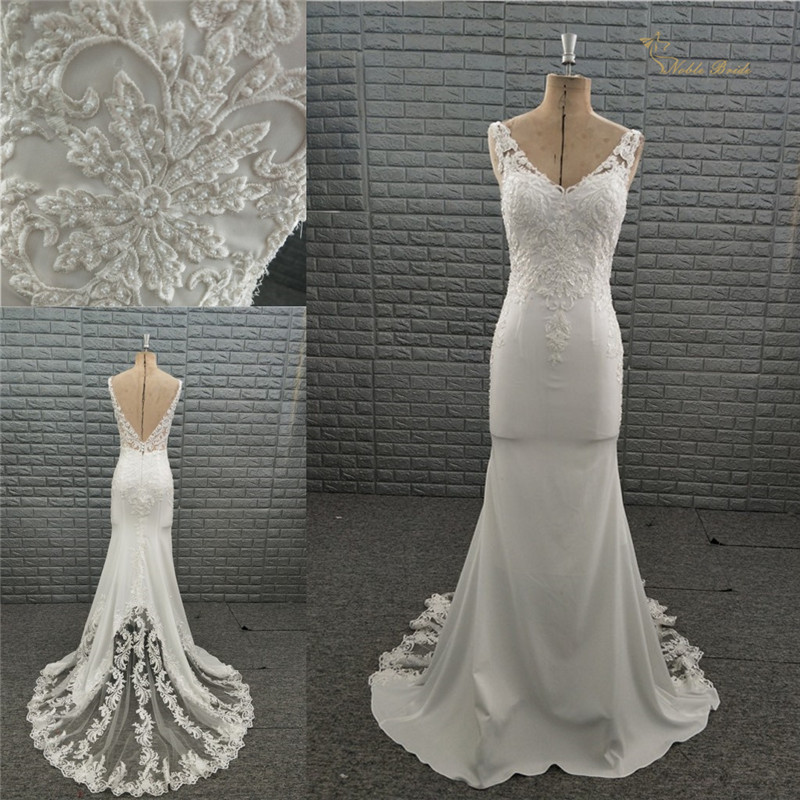 New Fashion Real Sample Mermaid Wedding Dress Backless Beach Sexy Wedding Gowns 2019 Panel Lace Appliqued Wedding Dresses