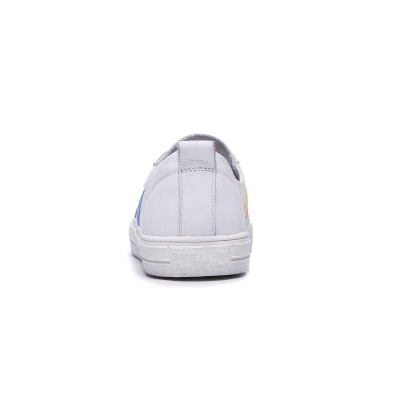 Casual Msstor Printemps Blanc Mode Femmes Cuir Véritable En Lacets Bout Caoutchouc Femme De Mélangées 2018 Rond Couleurs Chaussures r7ERrTq