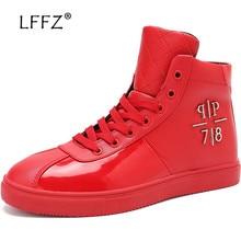 LFFZ Glossy High Waterproof Casual Shoes Men Big Size 47 Spring Vulcanize Shoes Men Fashion Sneakers Metal Decoration Male Flats