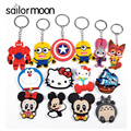 Cartoon anime Key chain bag Judy Mickey Captain America hello kitty key ring Doraemon Phone keychain Pirate Ship key holder