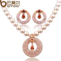 Bamoer Luxury Anniversary Pearl Jewelry Sets For Women Champagne Gold Plated Zircon Crystal Necklace Earrings