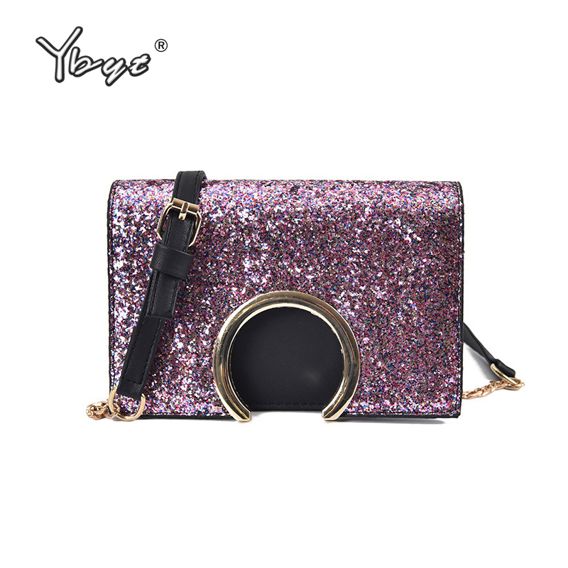 YBYT brand 2017 new fashion luxury chains sequined women flap hotsale ladies evening bag mini shoulder messenger crossbody bags  недорого