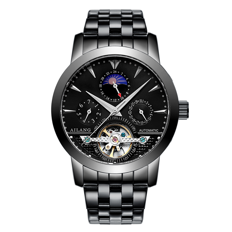 AILANG 2606 Switzerland watches men luxury brand automatic moon phase hollow tourbillon steel Gold White relogio masculino ailang 8221a switzerland watches men luxury brand automatic double tourbillon moon phase hollow business watch relogio masculino