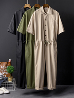 2019 Mens Loose Fit Jumpsuits Mens Overalls Fashion Cool Man Casual Pants Cargo Suspenders Trousers For Male