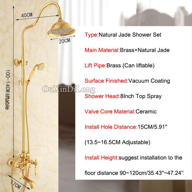 Hot Luxury Brass Jade Rainfall Shower Set Bathroom Shower Faucet 8 ...