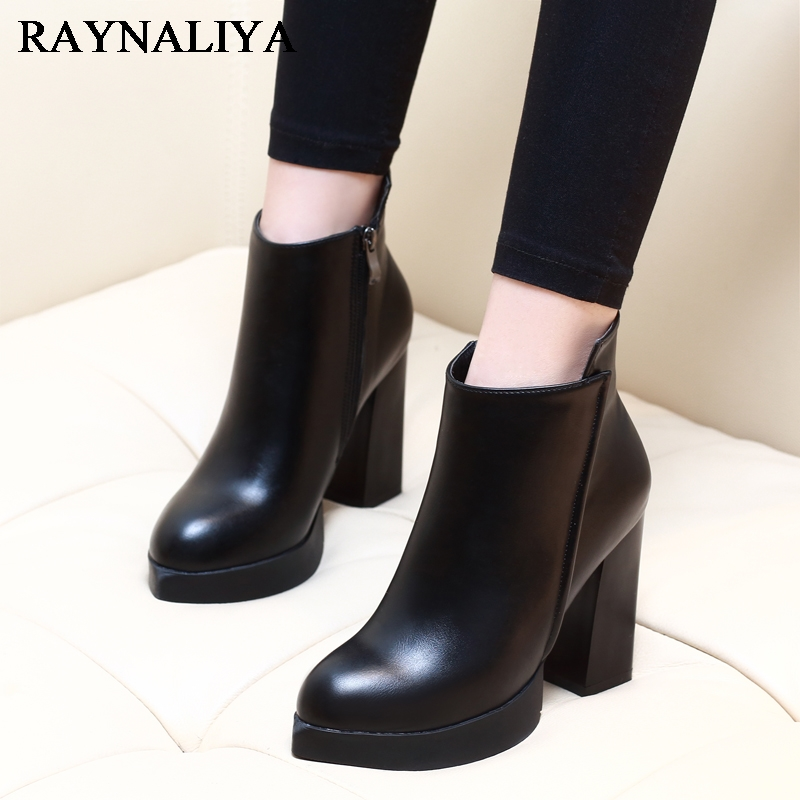Fashion Zipper 2017 Pointed Toe Genuine Leather Women Shoes Square High Heel Ankle Boot Black Motorcycle Boots Shoes CH-A0011