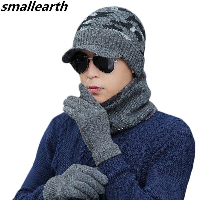Scarf Hat Winter-Accessories-Set Gloves-Sets Cotton Women Male Unisex Three-Piece Thick