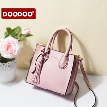 DOODOO Women PU Leather Bag Female Fashion Shoulder Bags Famous Brand Crossbody Bags Tassel Women Messenger Bags D7060