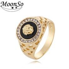 Moonso signet anillo de bodas de compromiso de los hombres león blanco y anillo de oro los hombres de moda al por mayor anillo de la joyería R4365