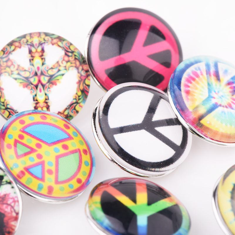 Brand New 10pcs/Lot Mixed Snaps Jewelry for Women DIY Fit 18mm Press Snap Buttons Peace Symbol Cameo Metal Glass Multicolor image