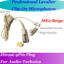 MICWL Beige ME2 Wireless Lavalier Lapel Microphone for Audio-Technica BeltPack Mic System Hirose 4Pin plus micwl me3 head worn condenser headset microphone for audio technica wireless beltpack system hirose 4pin connector
