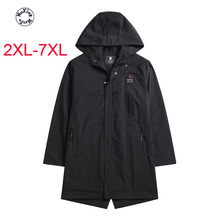 Woxingwosu big yards long in men's  windbreaker fertilizer increased hooded coat loose in the autumn 2XL to 5xl 6xl 7xl мужская футболка bigguy 2xl 5xl 7xl 2015 t ctx 01