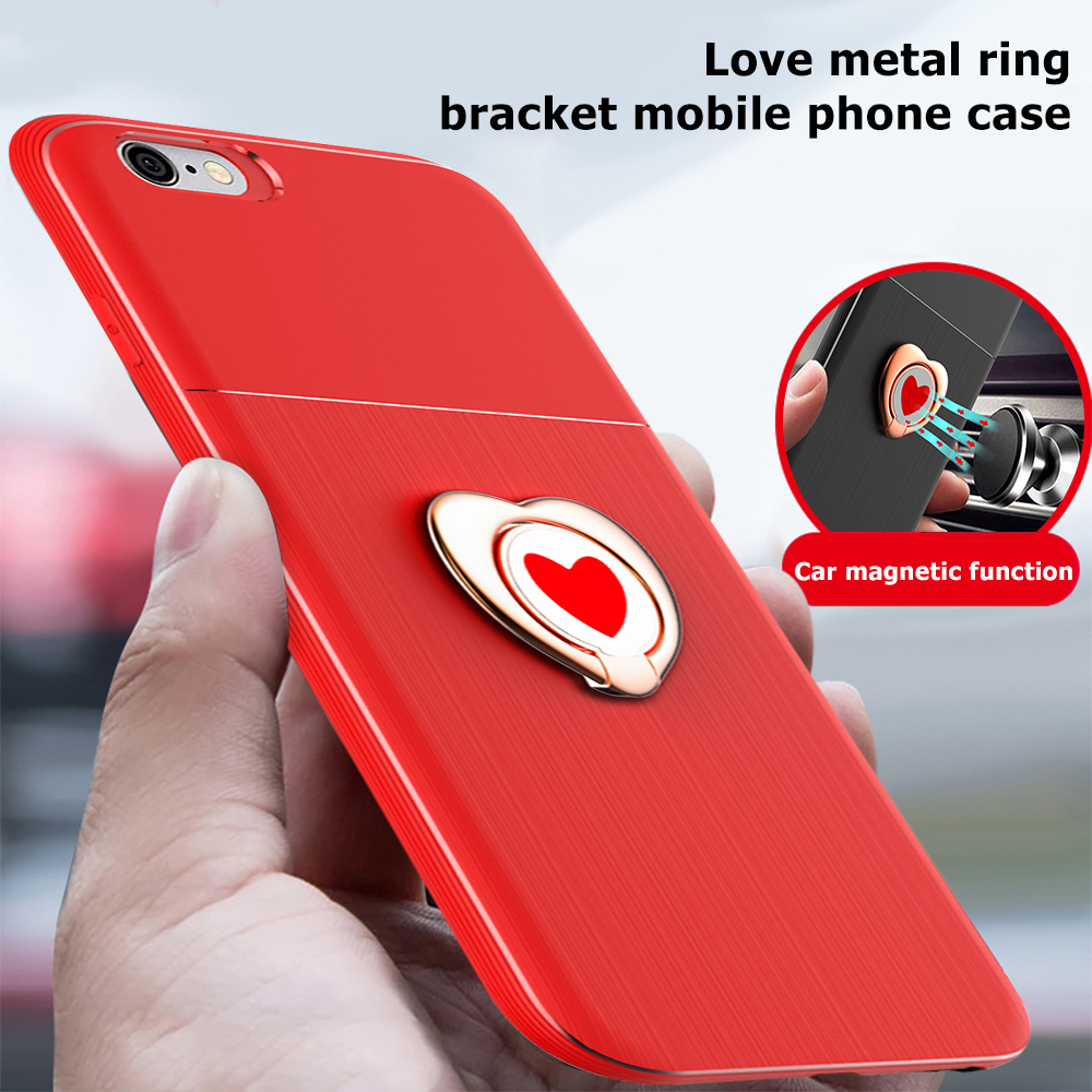 GerTong Case For iPhone 6 6s Car Magnetic Suction Bracket Finger Ring Soft TPU Back Cover For iPhone X 6 7 8 Plus Holder Stand