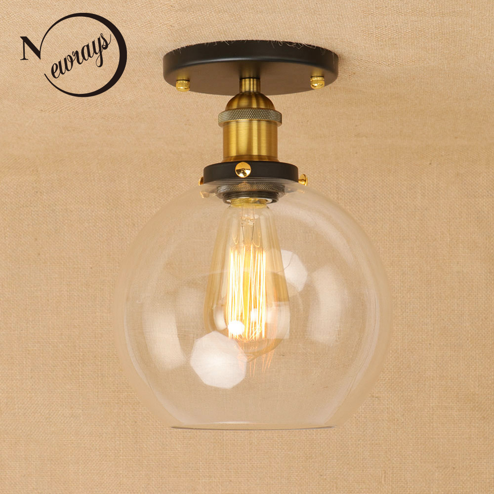Loft Vintage Iron Glass Lampshade Ceiling Lamp LED E27 AC 110V 220V Modern Lights Plafonnier Luminaire