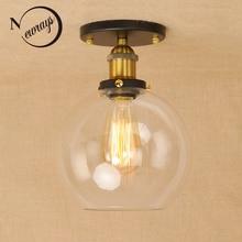 Лофт, винтажный Железный стеклянный абажур, потолочный светильник, светодиодный, E27, AC 110 В, 220 В, современные светильники, плафон, светильник для спальни, гостиной