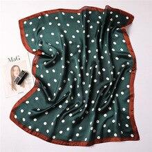 Womens Square Silk Scarf Fashion Summer Shawls and Wraps Print Dot Small Office Foulard Headband Handkerchief 70*70CM