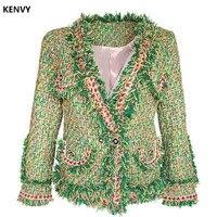 KENVY Элитная Женская мода зима Винтаж Стенд зеленый тонкий шерстяной короткая куртка пальто