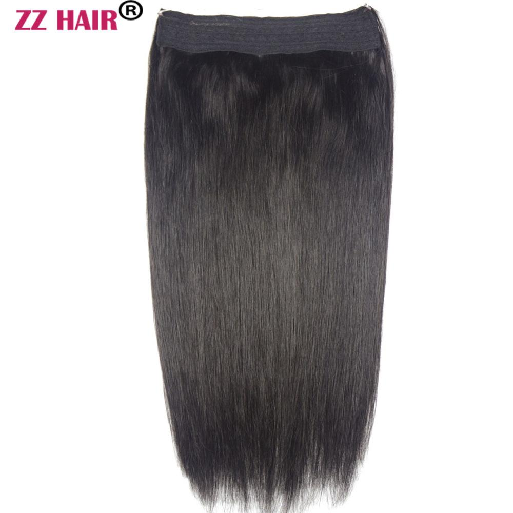 ZZHAIR 80g 200g 16 26 Machine Made Remy Hair Halo Hair Flip in Human Hair Extensions