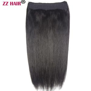 "ZZHAIR 80g-200g 16""-28"" Machine Made Remy Hair Halo Hair Flip in Human Hair Extensions One piece Set Fish Line Hair(China)"