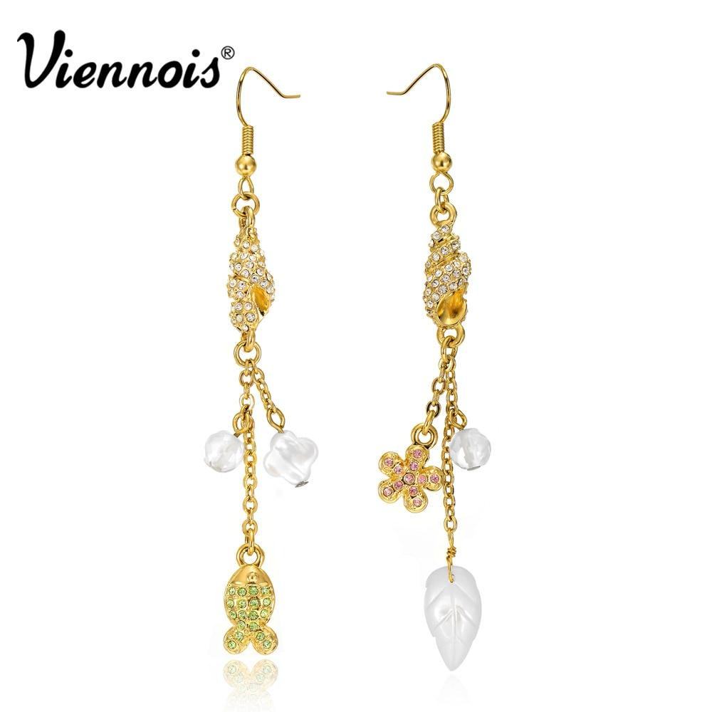 Viennois Gold Long Drop Shell Earrings For Women Simulated Pearl Dangle Earrings Fashion Jewelry Crystal yoursfs leverback earrings 18k white rose gold plated fashion jewelry women square crystal dangle drop earrings