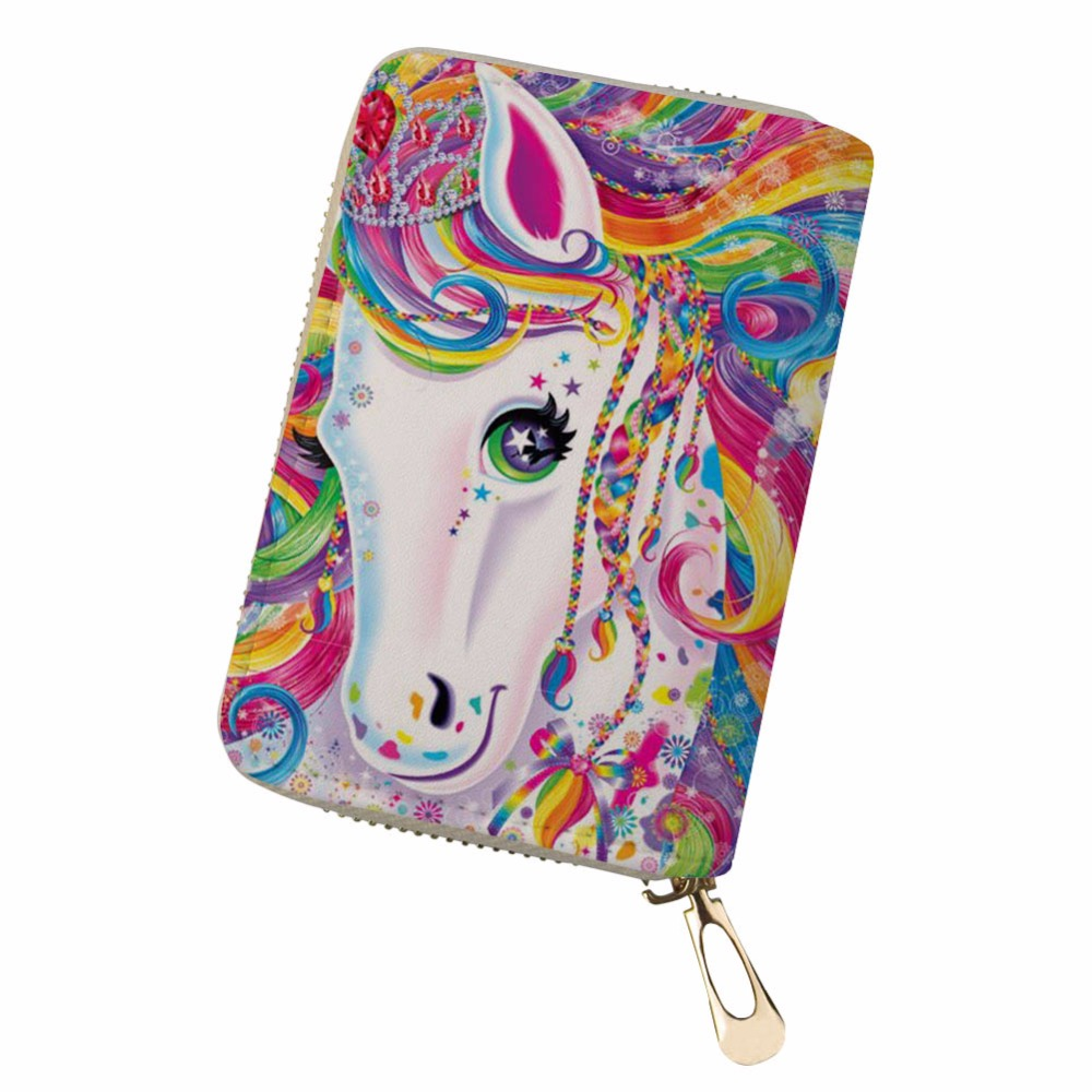 Noisydesigns Multiple Cards unicorn feminine gorjuss funny Portable PU Leather Organizer Card Wallet monedero pokemon kaarten ...