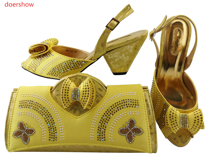 doershow African Women Matching Italian Shoe and Bag Set Italian Shoe with Matching Bag for Wedding LULU1-26 doershow italian shoe with matching bag silver african shoe and bag set new design matching shoes and bags for party bch1 6