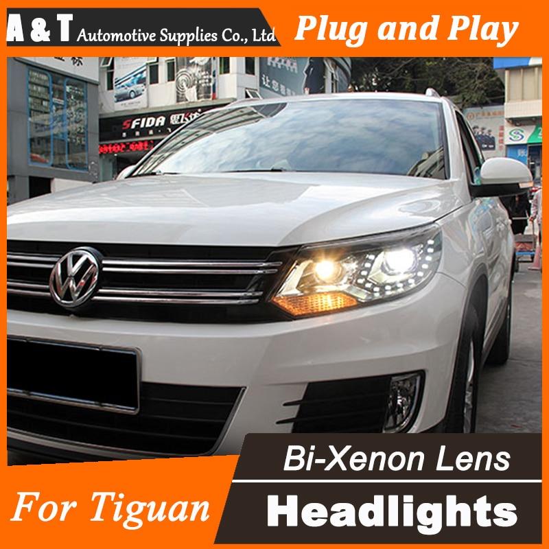 Стайлинга автомобилей для VW тигуан фары Ассамблеи Новый тигуан LED объектив фар DRL двойным Луч H7 с HID комплект 2шт.