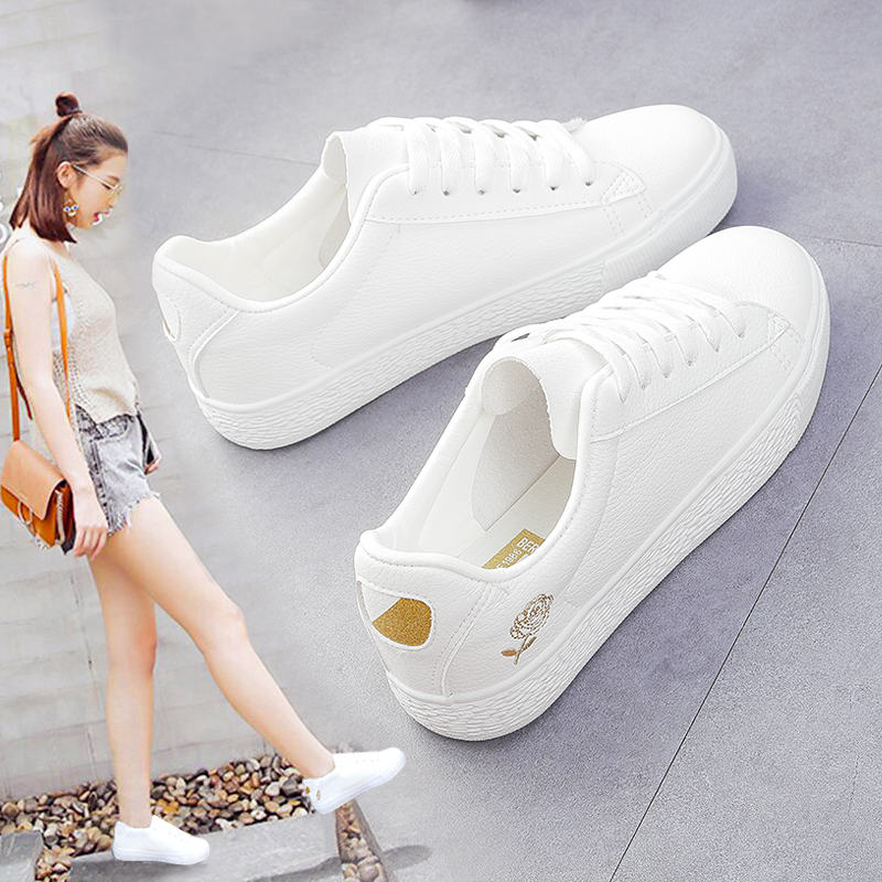 White Shoes Woman Flat Walking Girl Student Sports Low Lightweight Sneakers