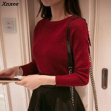 The new spring collar sweater female short slim turtleneck sweaters solid tight long sleeved shirt Xnxee
