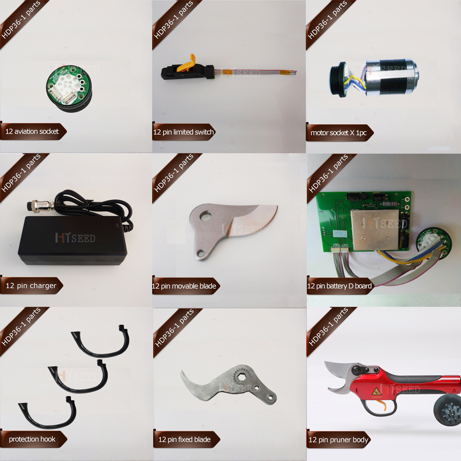 HDP36-1 12 Pin Spare Parts, Battery, Cable/lead, Blades, Pruner Body And Limit Switch