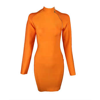 2019 New Women Orange Sexy Long Sleeve High Neck Front Zipper Split Bodycon Celebrity Vestidos Party Dresses