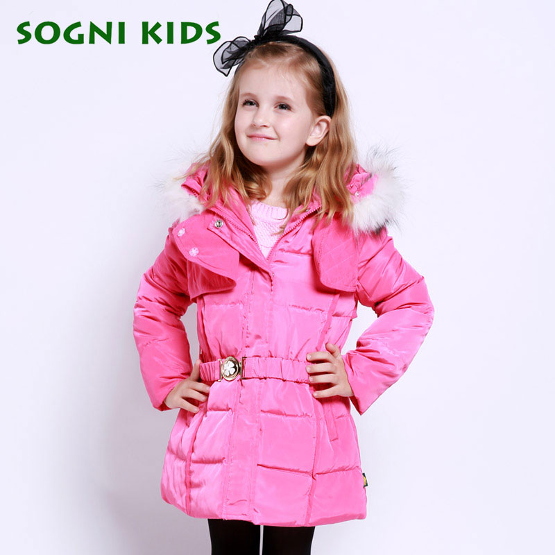 New Brand Child girls winter White duck down jackets coats thick hooded outwear Waistband kids girls warm down jacket Parkas 2016 winter jacket girls down coat child down jackets girl duck down long flower hooded loose coats children outwear overcaot