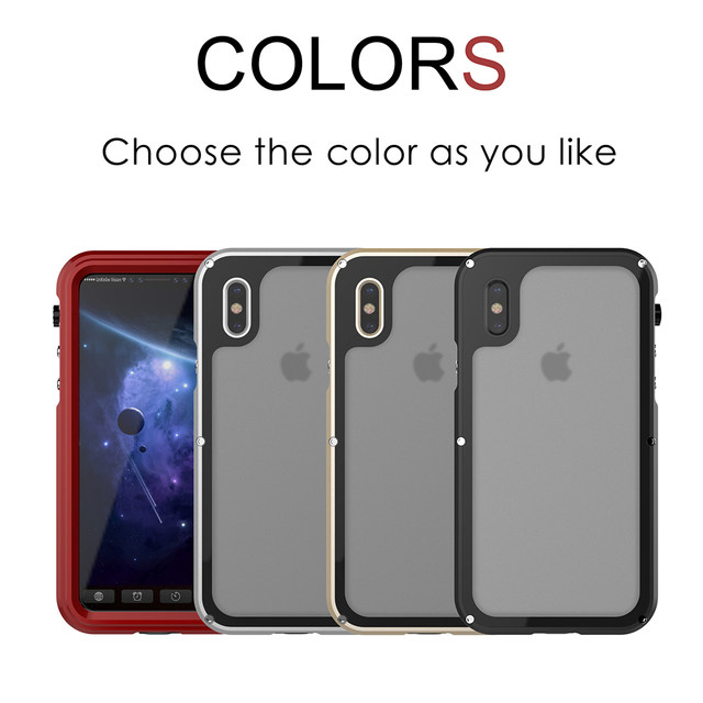 Ascromy For iPhone X Case Shockproof IP68 Waterproof Metal Bumper Cover For Appe iPhone 7 Plus 8 8plus Water Proof Accessories (7)