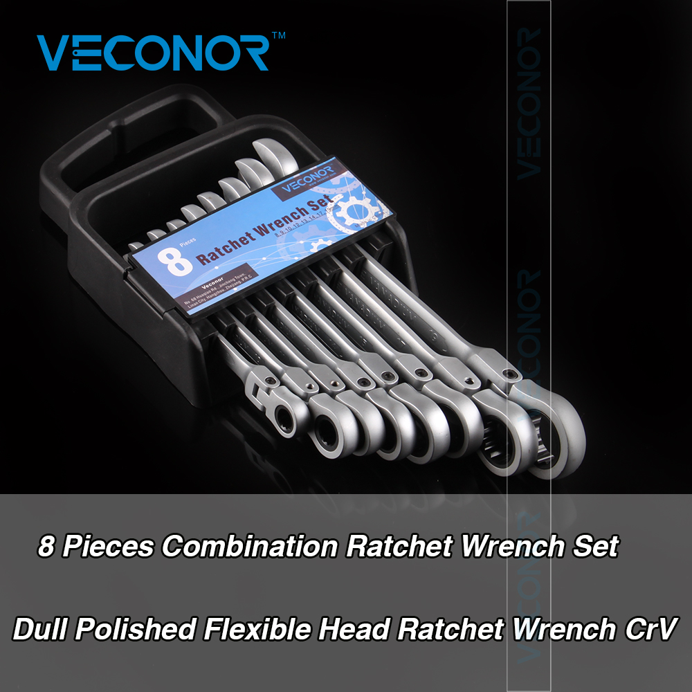 Veconor 8 10 11 13 14 15 17 19mm Flex Head Ratcheting Spanner Combination Wrench Hand Tools Repair Set Mechanics CRV Material стоимость