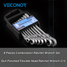 Veconor 8Pcs/set Fixed Head Ratcheting Spanner Combination Wrench Sets Hand Tools Repair Kit